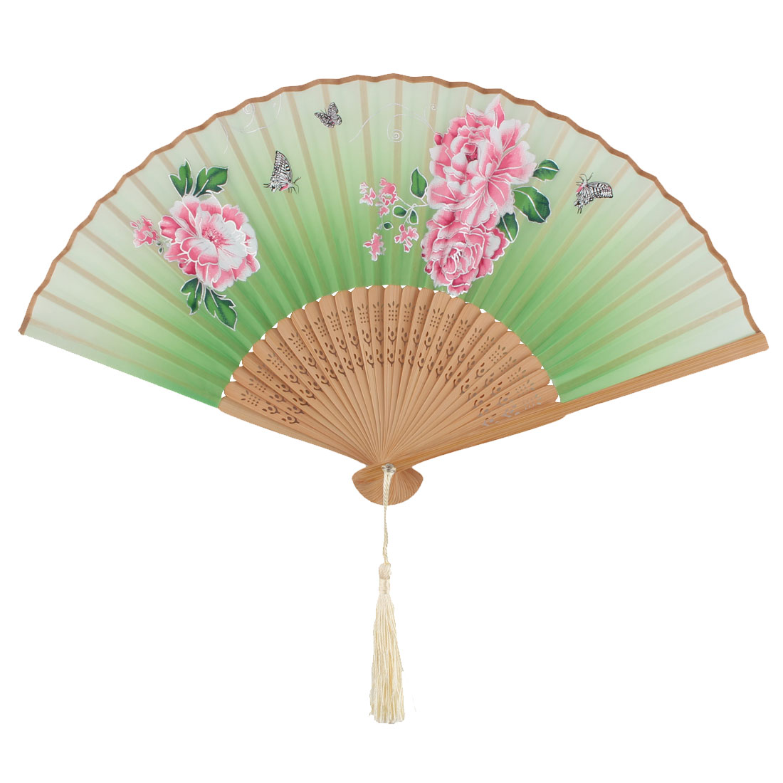 Lady Bamboo Rib Flower Pattern Pendant Decoration Handmade Cooling Handheld Folding Fan 21cm Long