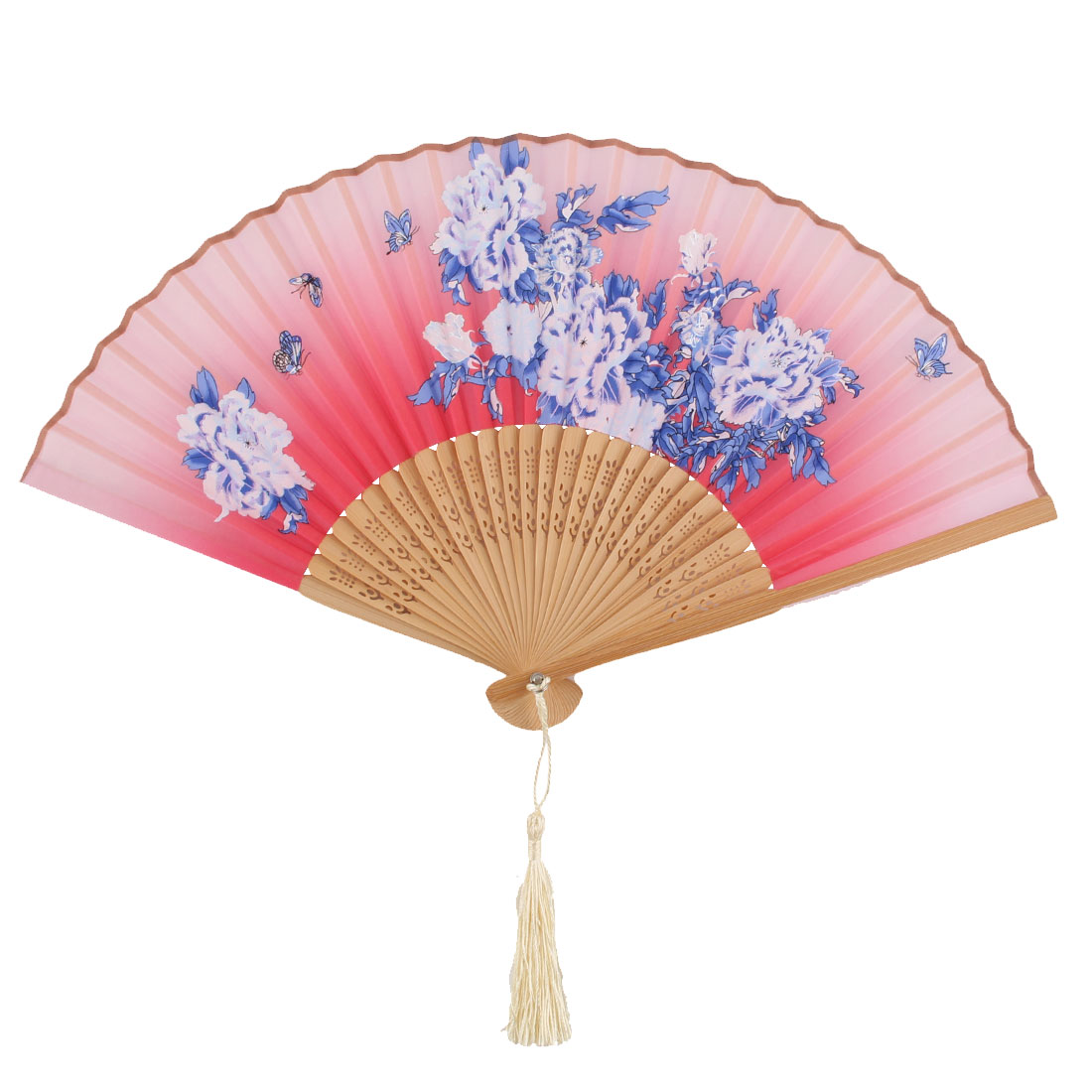Women Bamboo Rib Flower Pattern Pendant Decoration Handmade Cooling Handheld Folding Fan