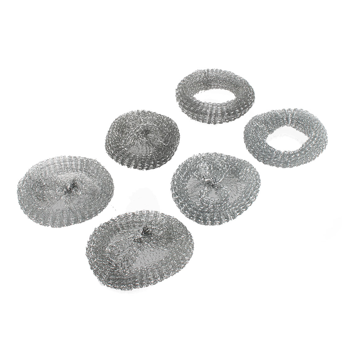 Home Kitchen Steel Wire Bowl Plate Pot Cleaning Washing Tool Scrubber 6 Pcs