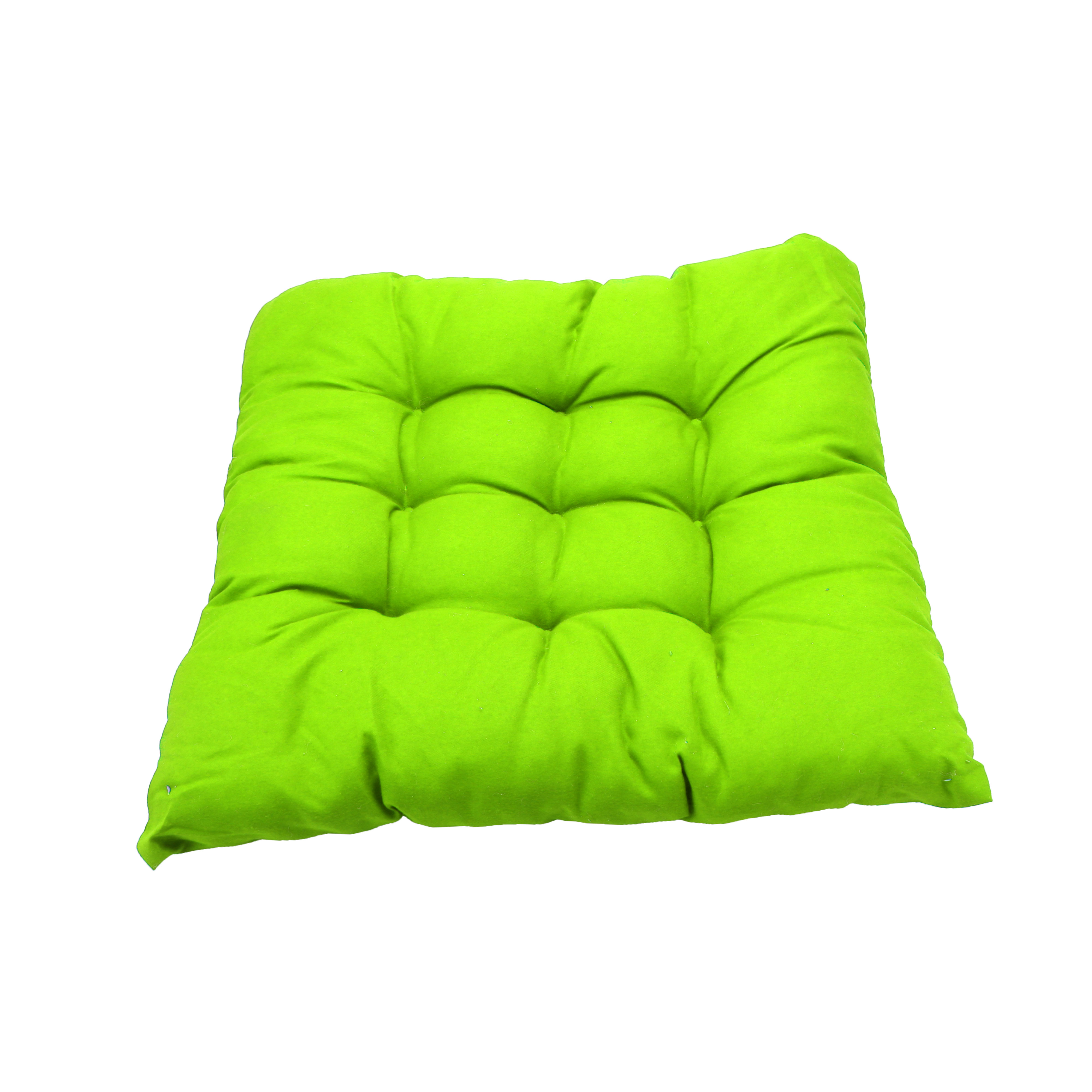 Home Vehicle Accessory Cotton Blends Strap Design Chair Seat Cushion Pad Lime Green