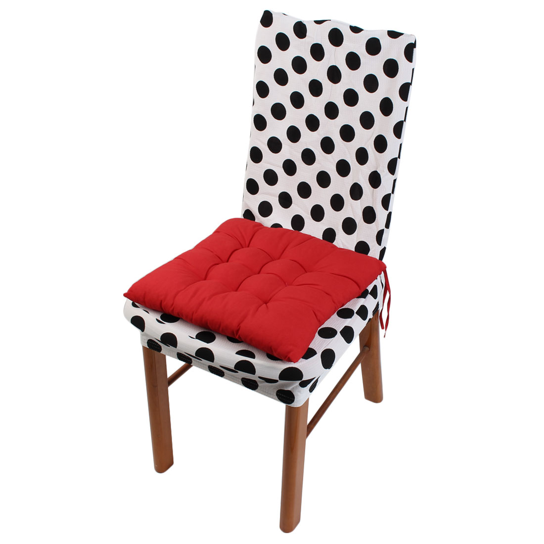 Indoor Outdoor Cotton Blends Strap Design Thickened Cushion Chair Buttocks Pad Red