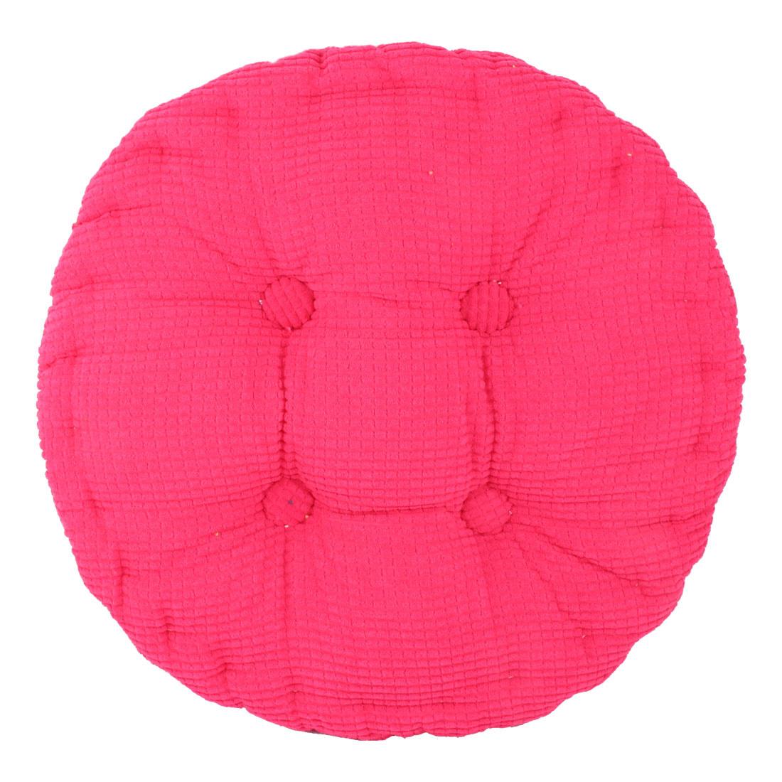 Home Corduroy Round Shaped Thickened Pillow Seat Chair Cushion Pad Mat Fuchsia