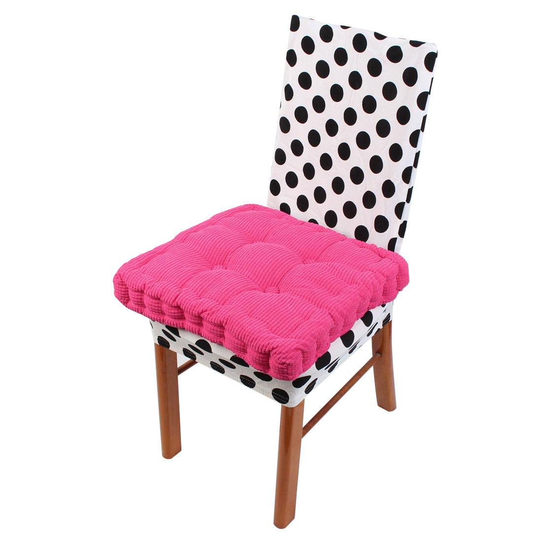 Household Corduroy Square Shape Thicken Chair Cushions Fuchsia 43.5cm x 43.5cm