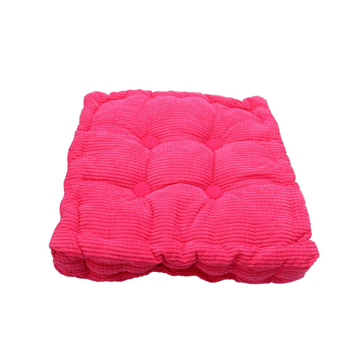 Home Office Corduroy Square Shaped Anti Slip Seat Chair Cushion Pad Cover Fuchsia