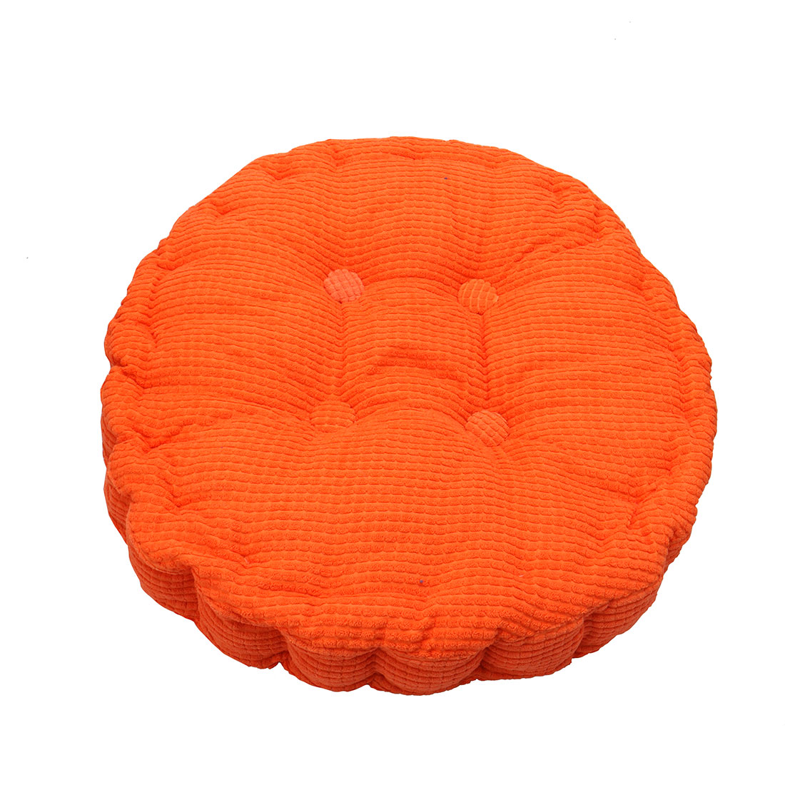 Home Corduroy Round Shaped Thickened Pillow Seat Chair Cushion Pad Mat Orange