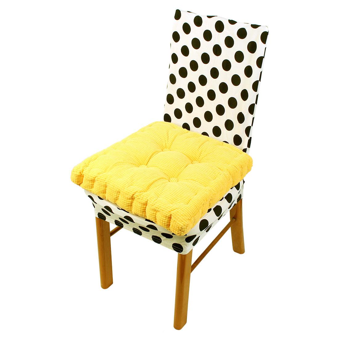 Home Office Corduroy Square Shaped Sofa Floor Chair Seat Cushion Pad Yellow 45 x 45cm
