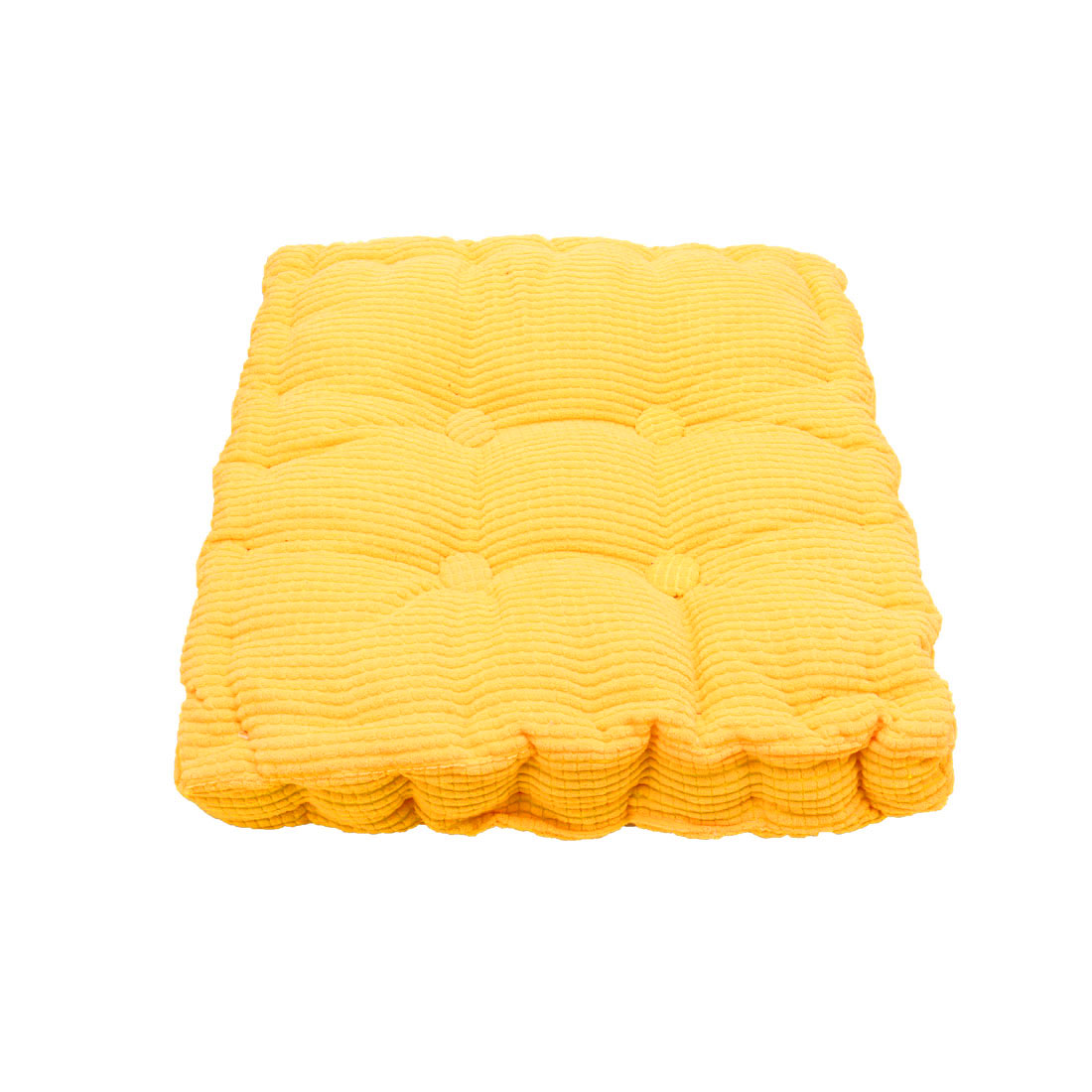 Home Office Corduroy Square Shaped Anti Slip Seat Chair Cushion Pad Cover Yellow