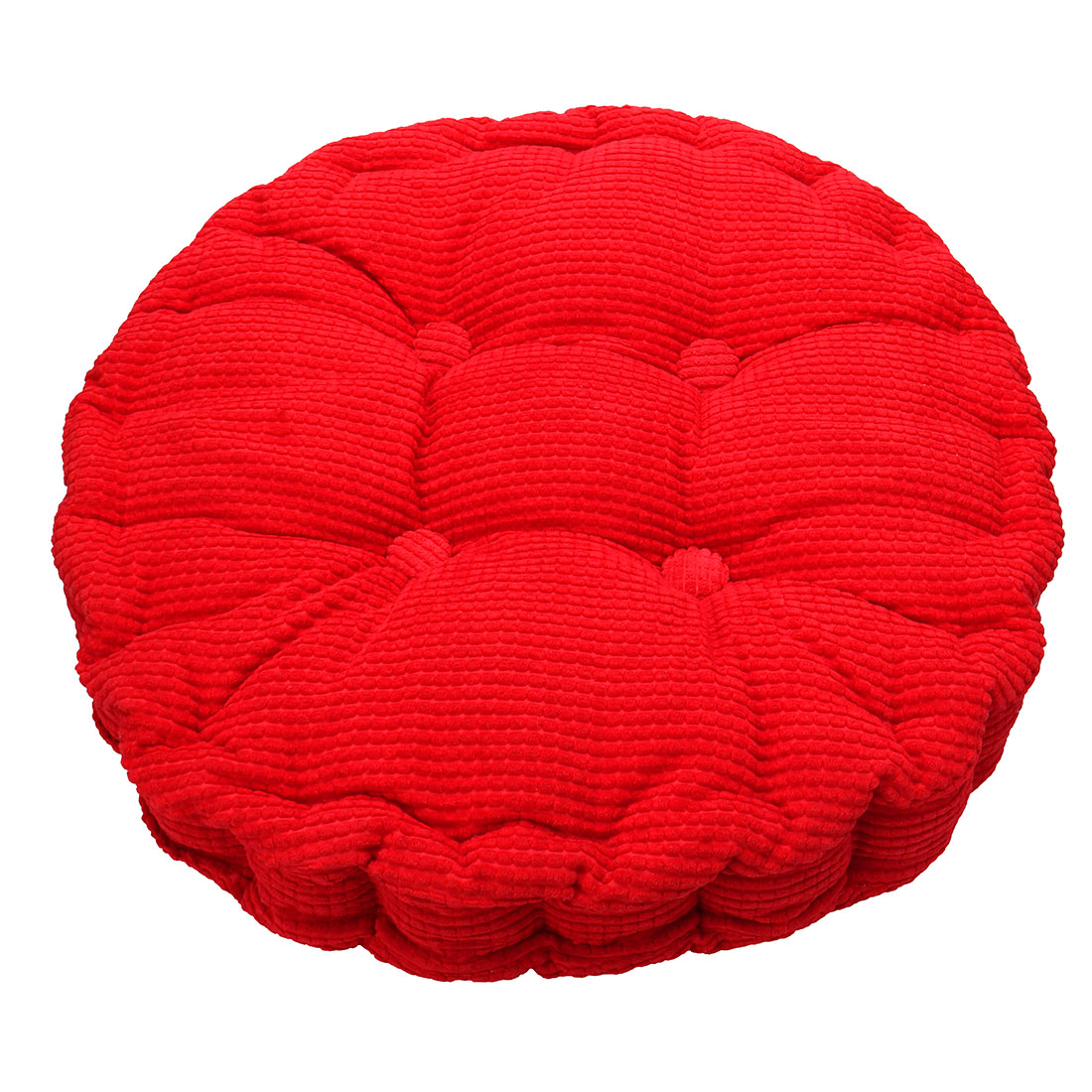 Home Corduroy Round Shaped Thickened Pillow Seat Chair Cushion Pad Mat Red