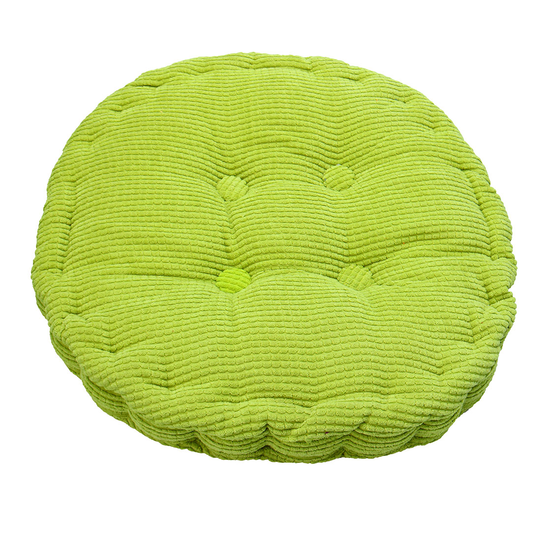 Home Corduroy Round Shaped Thickened Pillow Seat Chair Cushion Pad Mat Grass Green