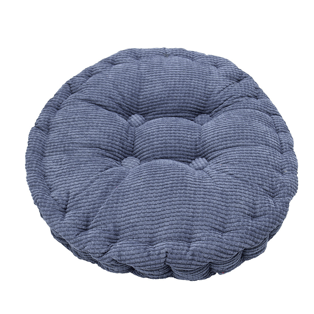 Home Corduroy Round Shaped Thickened Pillow Seat Chair Cushion Pad Mat Navy Blue
