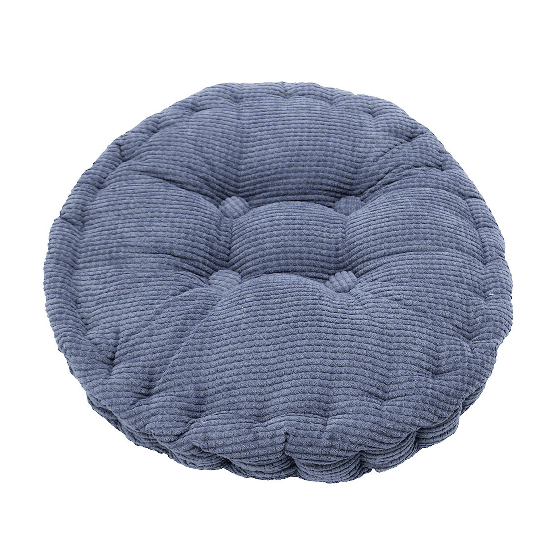 Home Office Corduroy Round Shaped Sofa Floor Chair Seat Cushion Pad Blue 40cm Dia