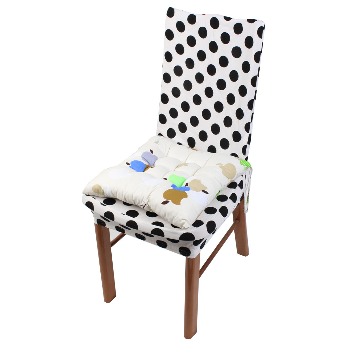 Household Office Polyester Apple Print Keeping Warm Chair Cushion Pad White 40 x 40cm