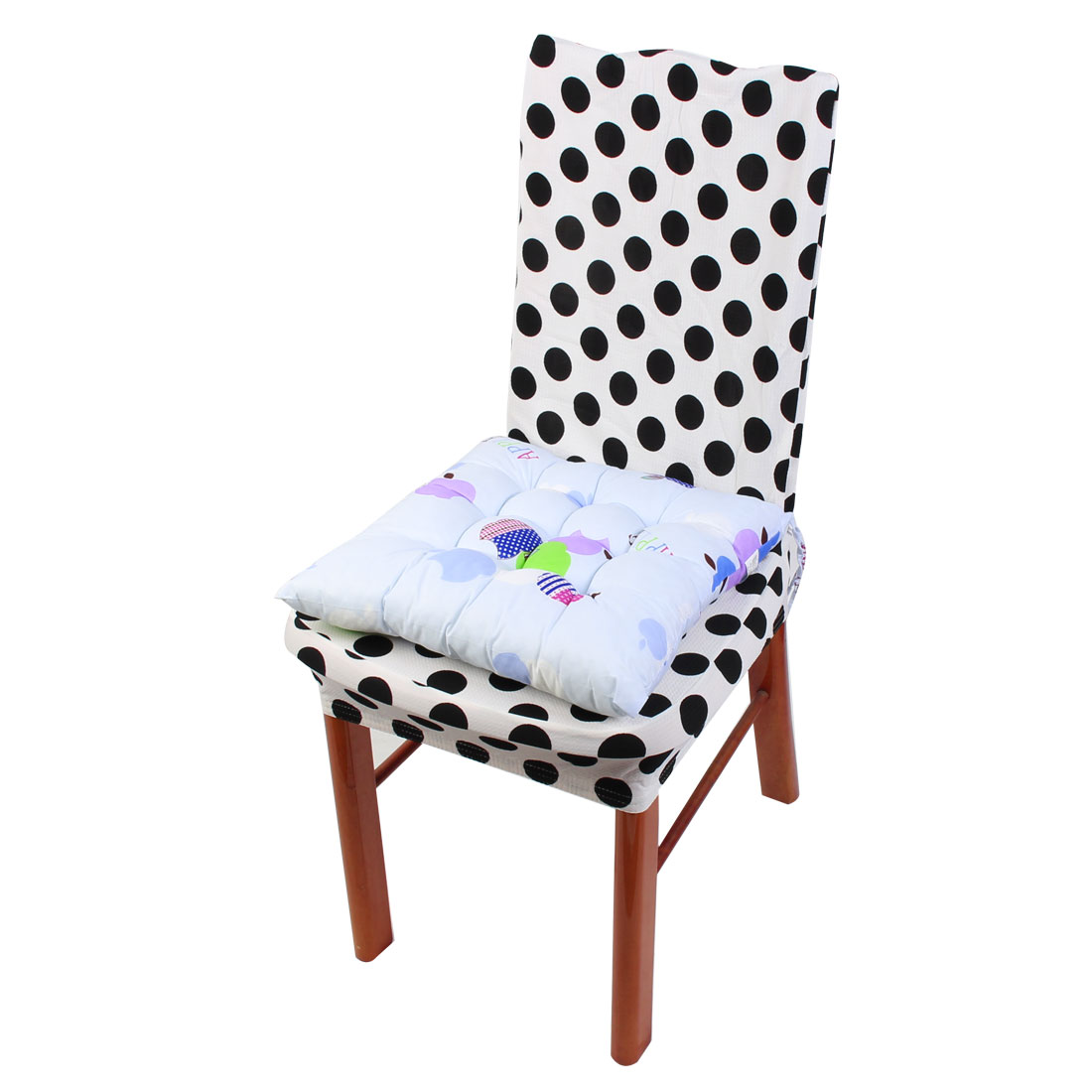 Household Office Polyester Apple Print Keeping Warm Chair Cushion Pad Light Blue 40 x 40cm