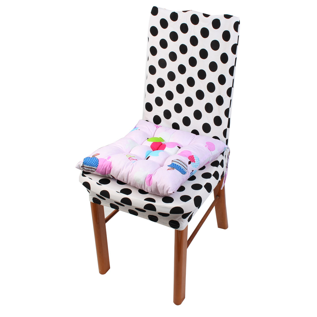Household Office Polyester Apple Print Keeping Warm Chair Cushion Pad Pink 40 x 40cm