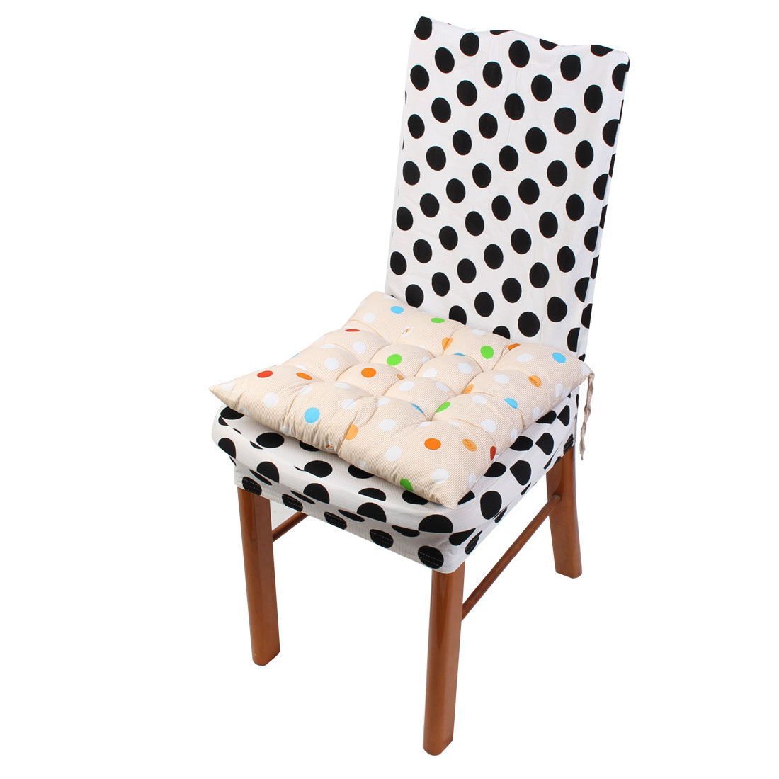 Household Office Polyester Dots Print Keeping Warm Chair Cushion Pad Beige 40 x 40cm