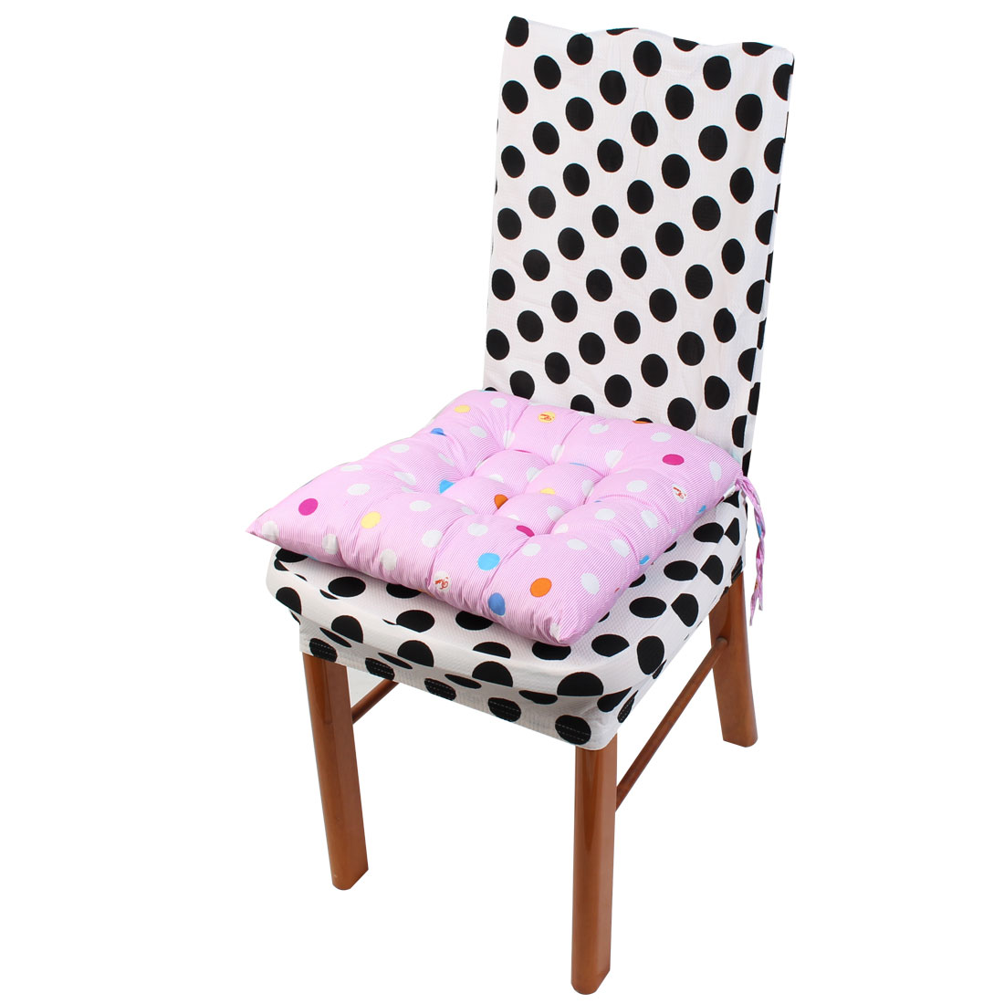 Household Office Polyester Dots Print Keeping Warm Chair Cushion Pad Light Pink 40 x 40cm