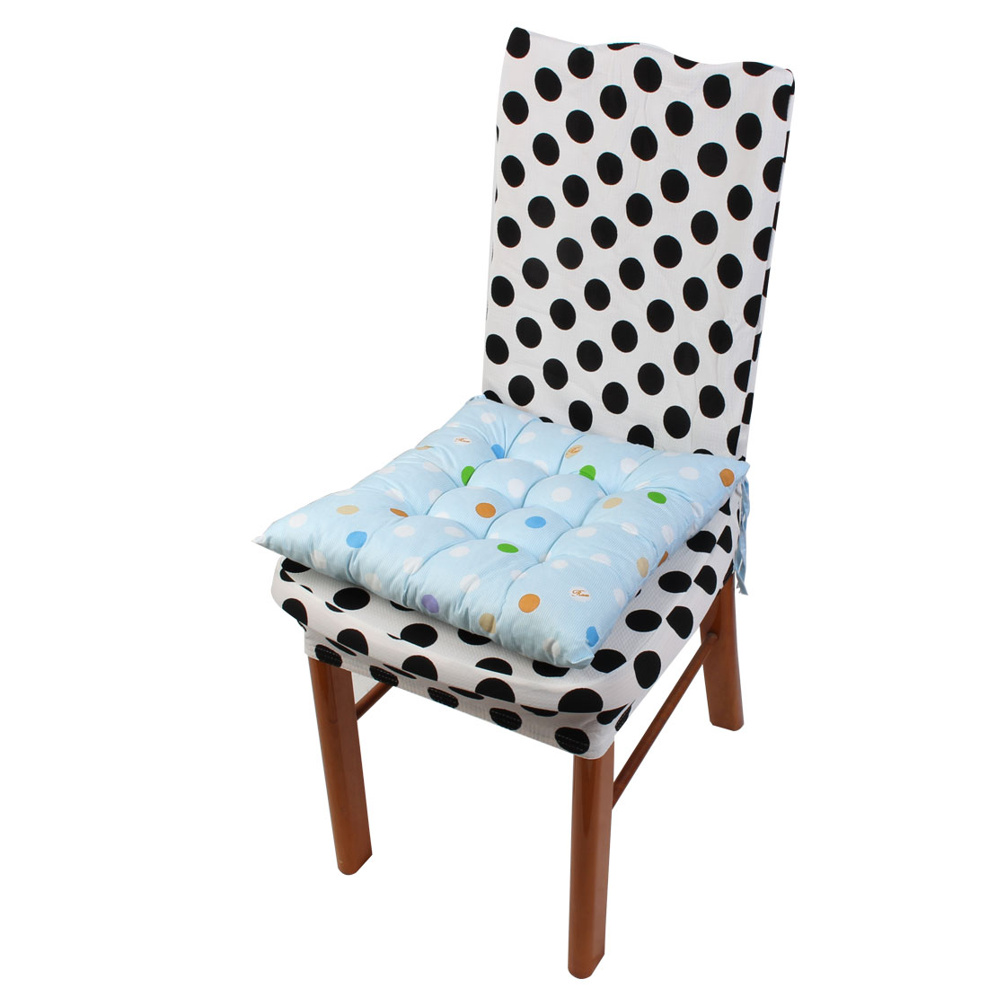 Household Polyester Blends Dots Print Keeping Warm Chair Cushion Pad Light Blue 40 x 40cm