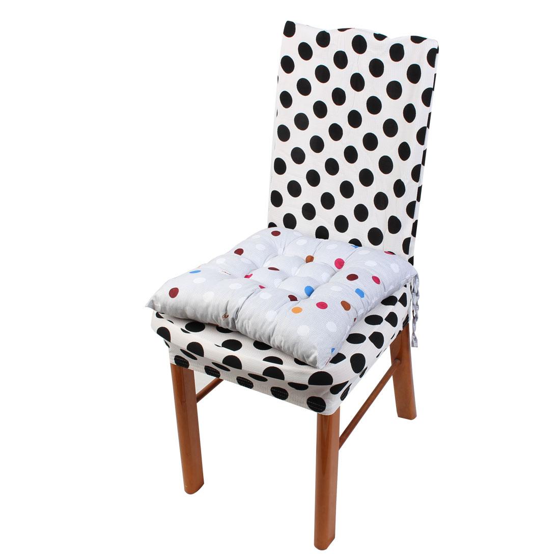 Household Polyester Dots Print Keeping Warm Chair Cushion Pad Gray 40 x 40cm