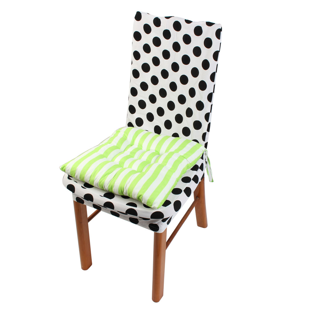 House Chair Cotton Blends Square Stripe Stamp Design Straps Non-slip Seat Cushion Green and White 40cm x 40cm