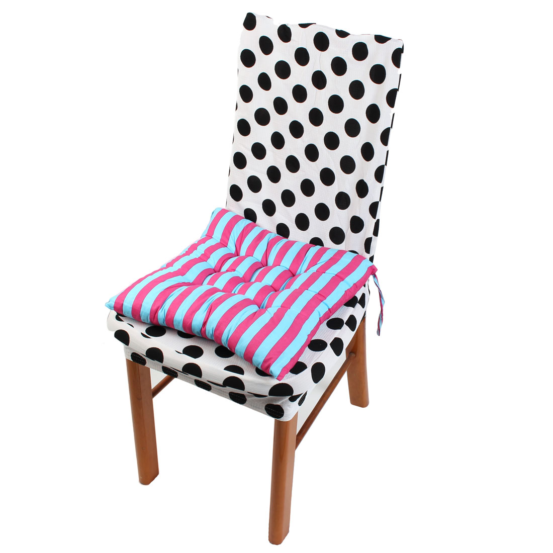 Intdoor Home Chair Cotton Blends Square Stripe Pattern Seat Cushion Fuchsia and Blue 40cm x 40cm