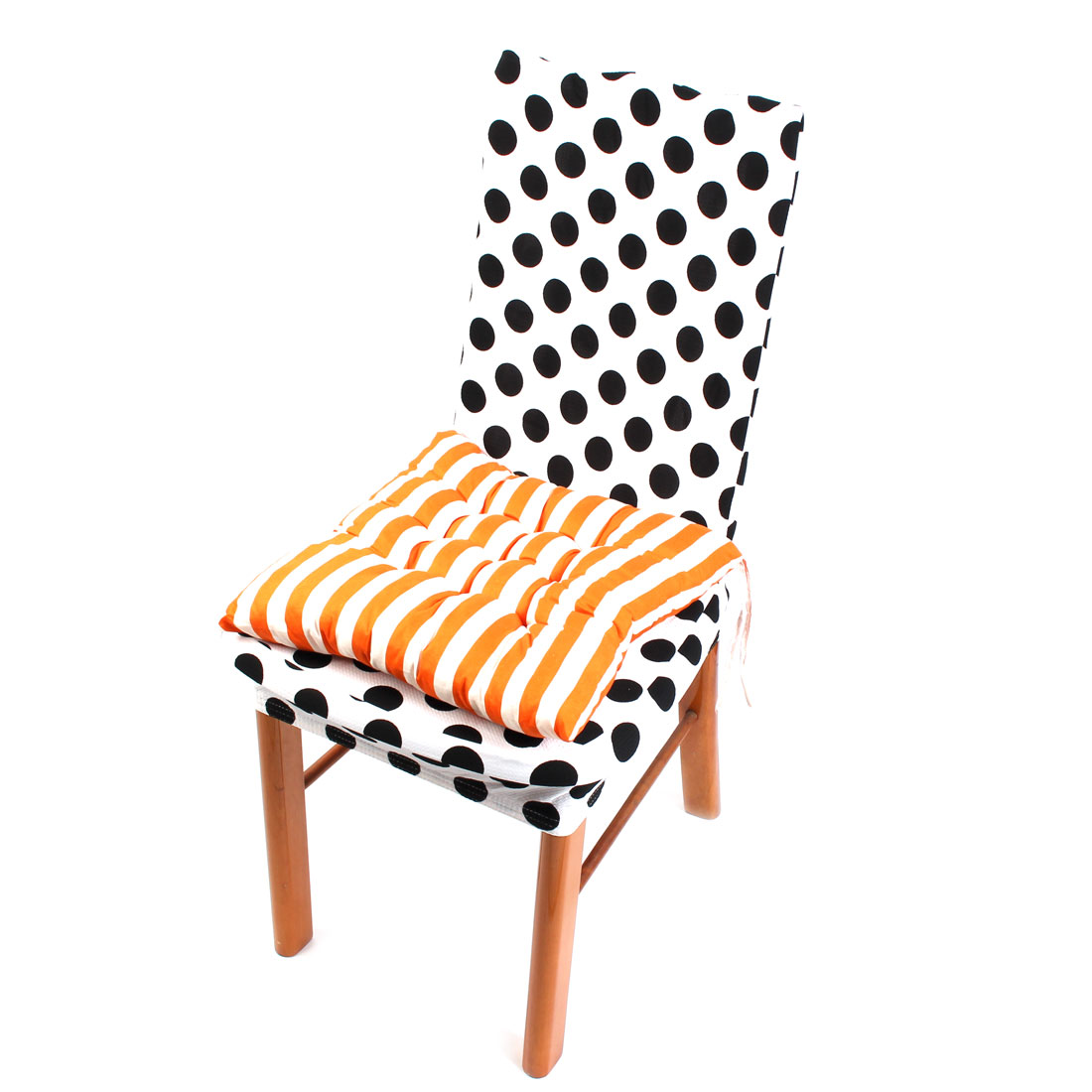 Household Bed Chair Sofa Cotton Blends Square Soft Breathable Stripe Pattern Seat Cushion Orange and White 40cm x 40cm