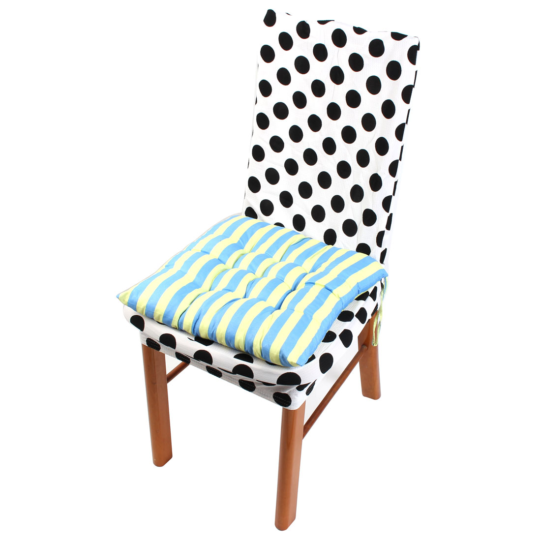 Indoor Sofa Chair Cotton Blends Square Shaped Stripe Stamp Seat Cushion Blue and Yellow 40cm x 40cm