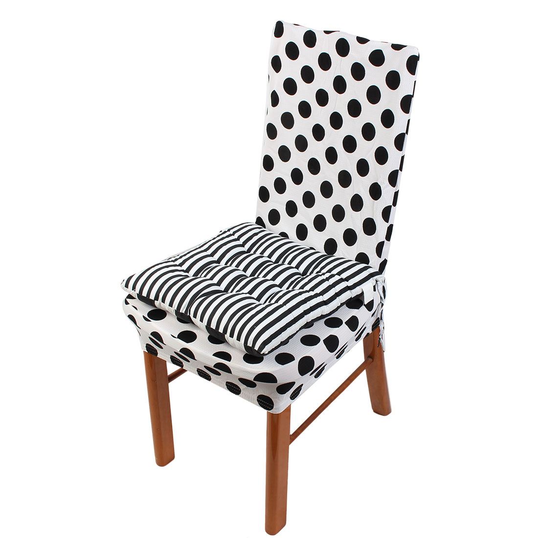 Home Office Polyester Square Shaped Stripes Pattern Chair Cushions Black White