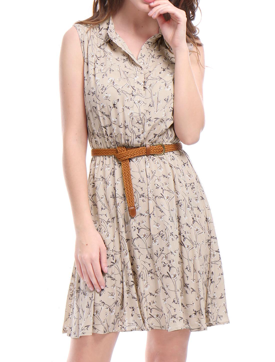 Allegra K Women Floral Prints Sleeveless Belted Shirt Dress Black Pink XL