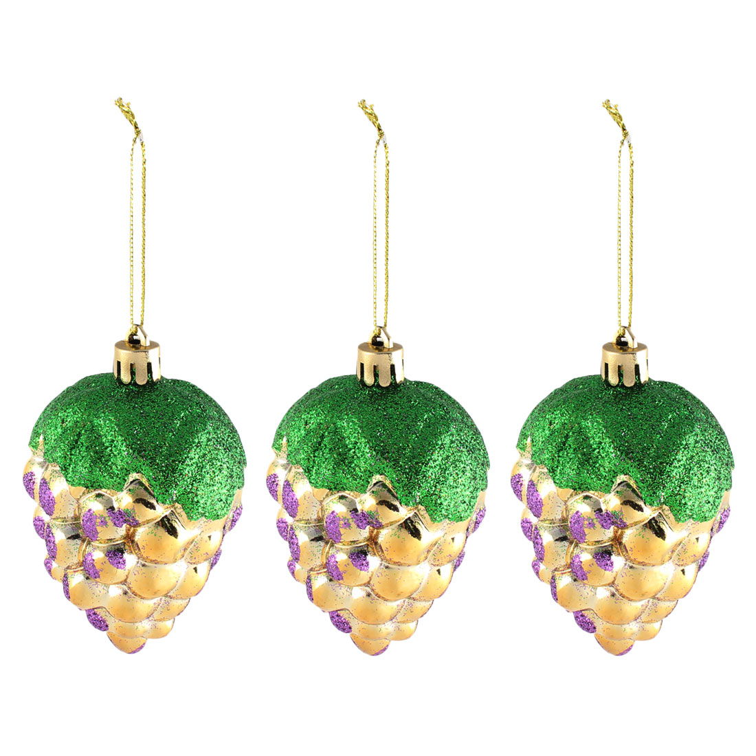 Plastic Grape Design Shining Tinsel Christmas Xmas Tree Hanging Home Decor 3pcs