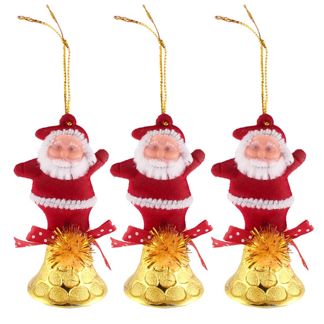 Xmas Christmas Tree Santa Claus Hanging Decor Festive Bell Ornament 3 PCS