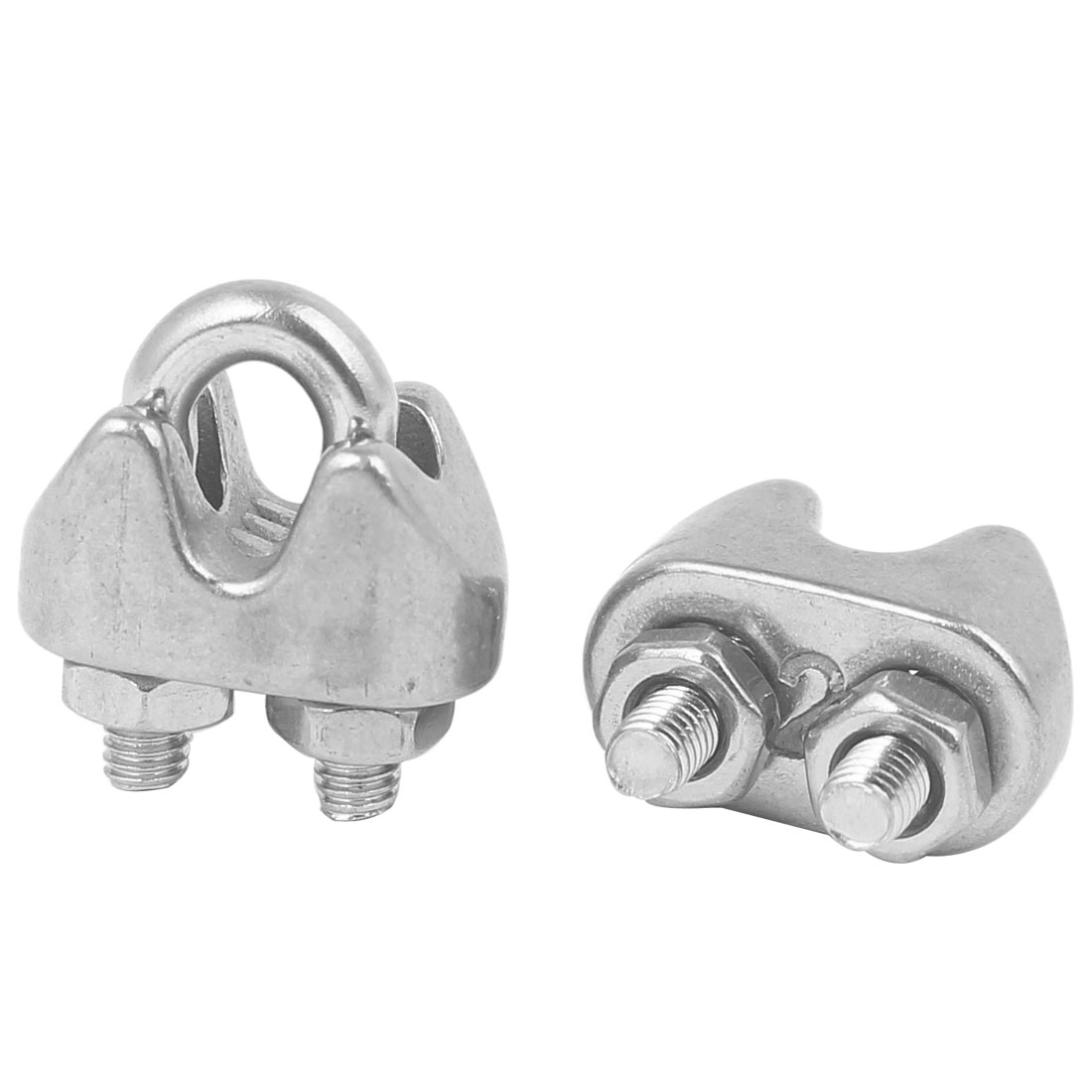 M2 304 Stainless Steel U-Shape Bolt Saddle Clamp Cable Wire Rope Clip 2PCS