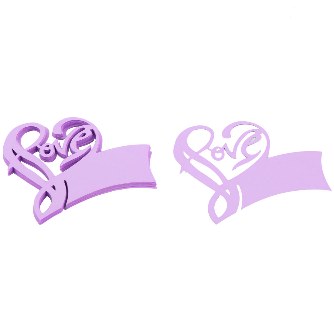 Wedding Ornament Iridescent Paper Heart Design Table Name Wine Glass Card Purple 20 PCS