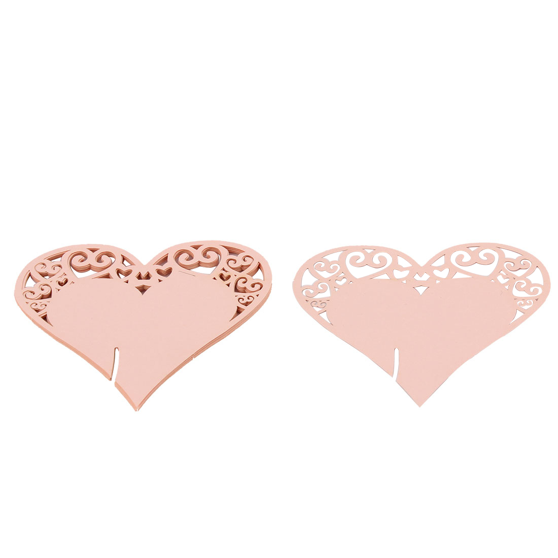 Party Wedding Decoration Heart Shaped Table Name Paper Wine Glass Card Pink 10 PCS