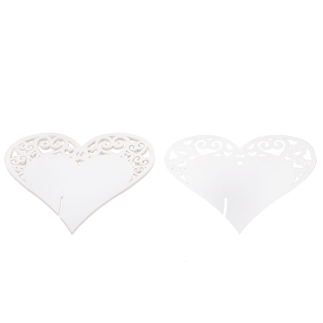 Party Wedding Decoration Heart Shaped Table Name Paper Wine Glass Card White 10 PCS