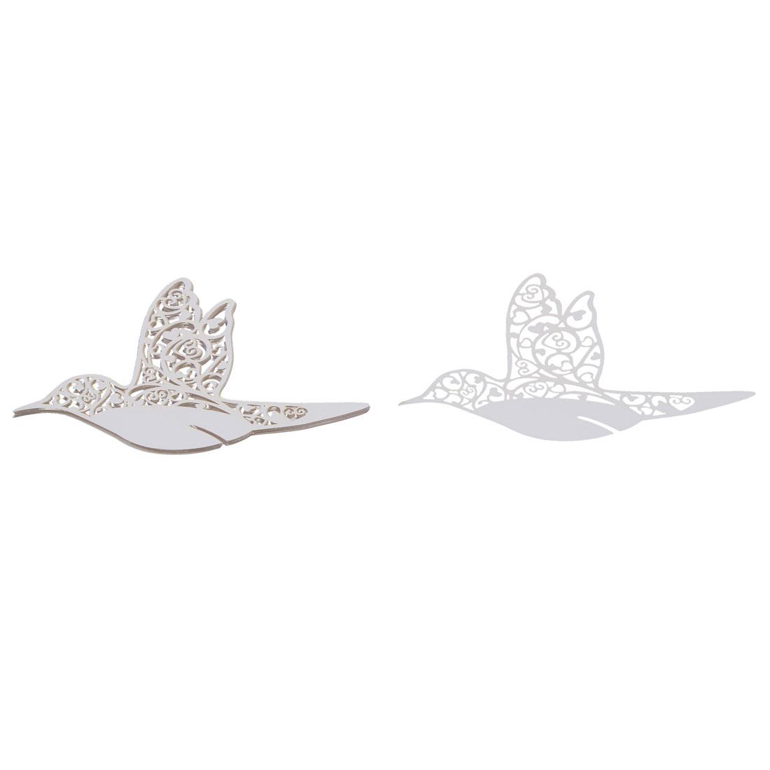 Wedding Decor Laser Cut Humming Birds Shaped Table Name Wine Glass Cards White 10 PCS