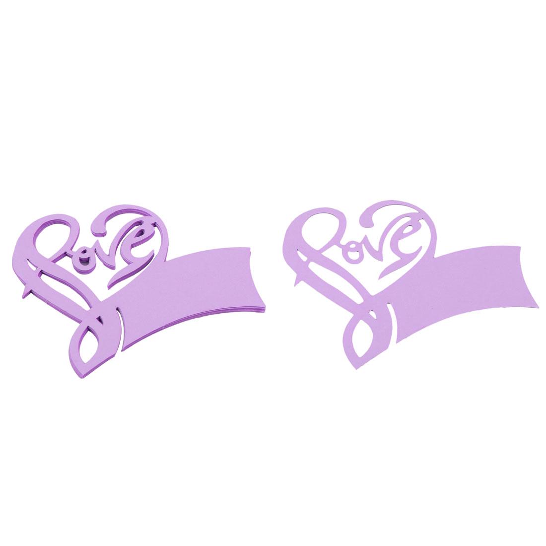 Love Shape Hallow Out Laser Cut Name Place Wine Glass Cards Drak Purple 10pcs