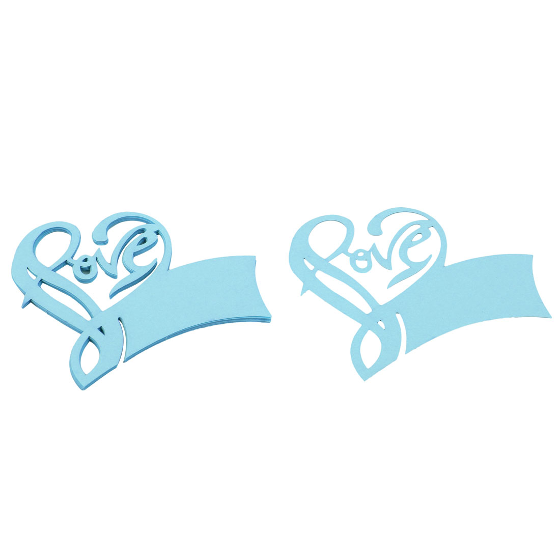 Pearlescent Paper Love Shape Hollow Out Name Wine Glass Card Party Decoration Blue 10 Pcs