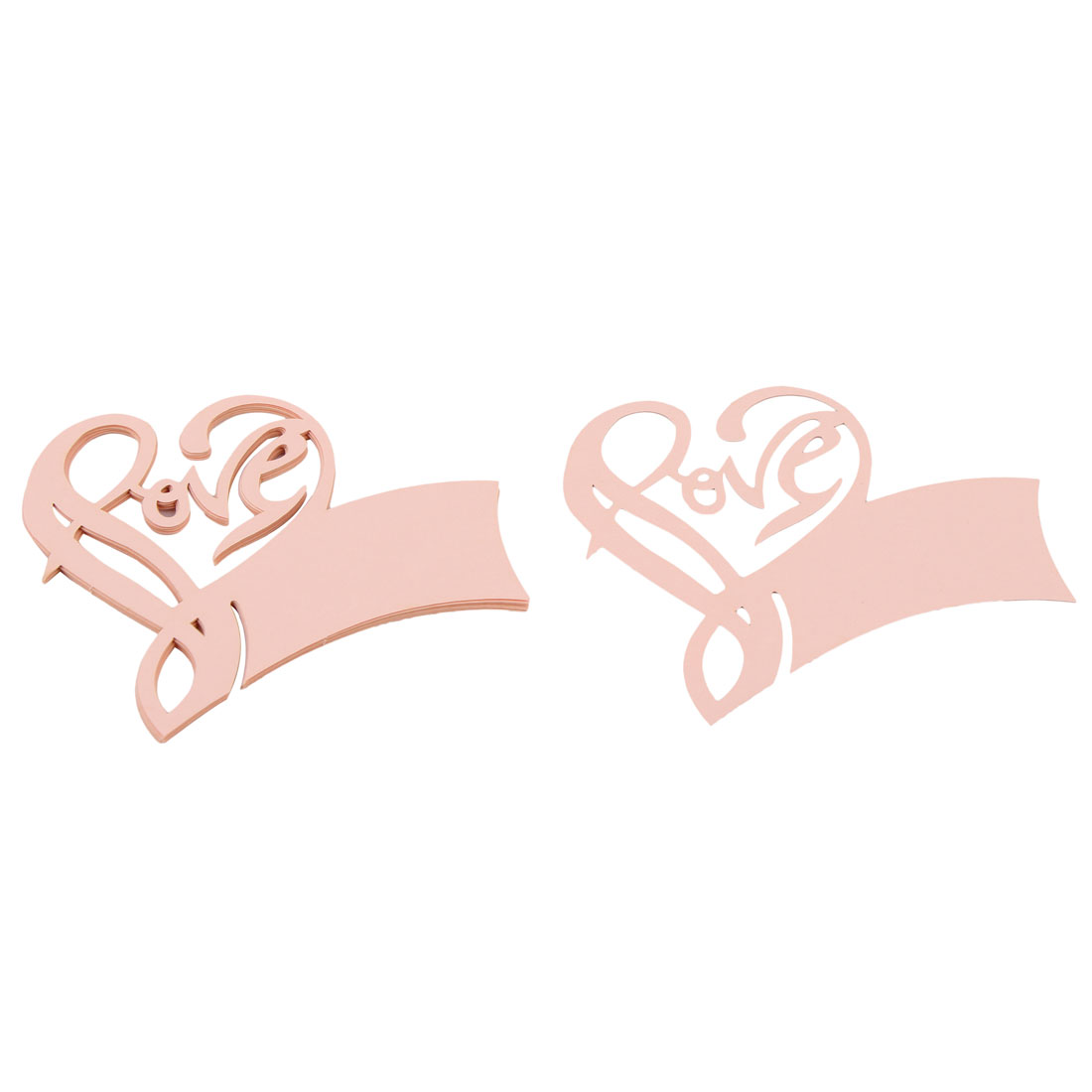Party Decor Favor Love Shape Wedding Table Nmae Place Wine Glass Card Coral Pink 10pcs