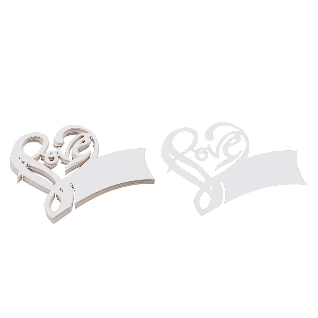 Wedding Party Decor Love Shape Laser Cut Name Place Wine Glass Card Beige 10pcs