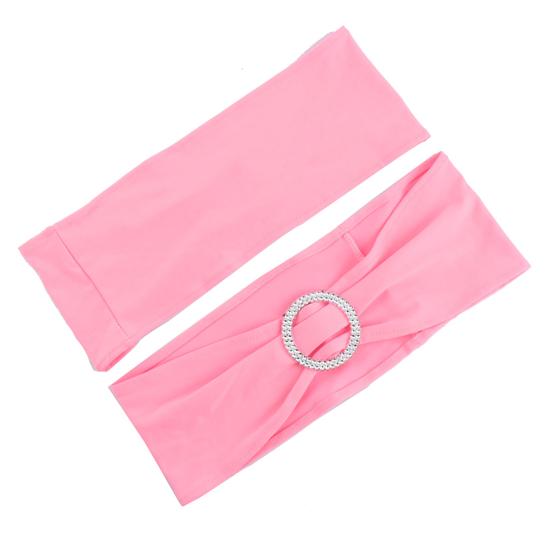 Wedding Banquet Plastic Ring Elastic Fabric Seat Chair Back Decoration Adornment Pink 2pcs