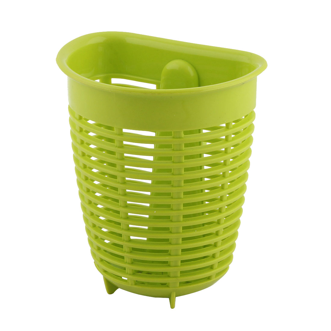 Kitchen Bathroom Suction Cup Hollow Out Tableware Small Items Drain Storage Basket Green