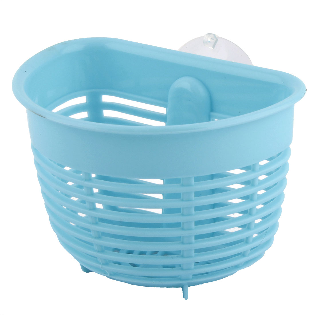Kitchen Bathroom Plastic Soap Tableware Small Items Drain Storage Basket Light Blue