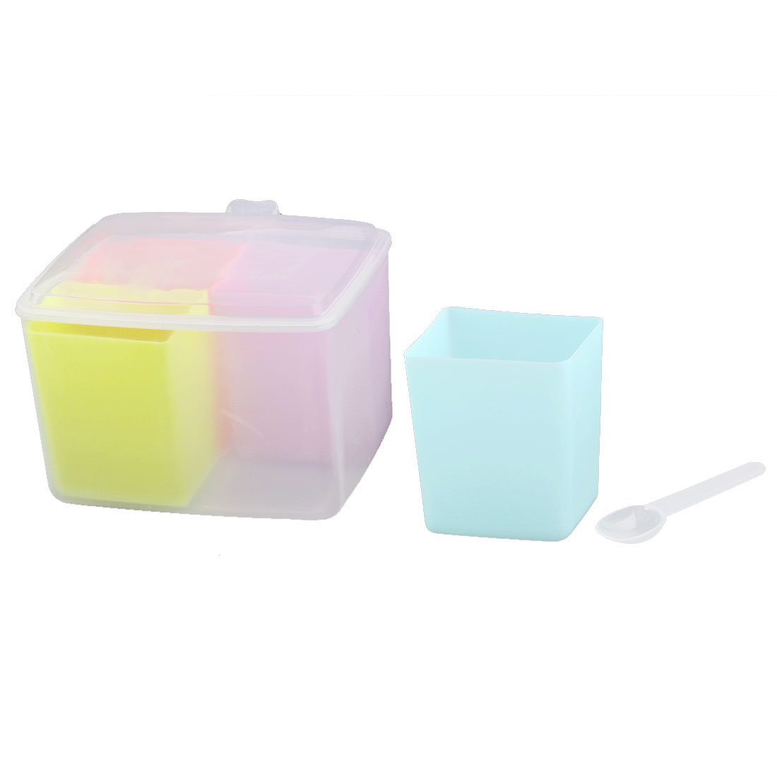 Kitchen Household Plastic 4 Compartment Spices Condiment Container Case Holder