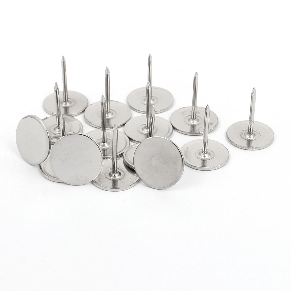 19mm Dia Round Head Upholstery Nail Tack Push Pin Thumbtack Silver Tone 15PCS