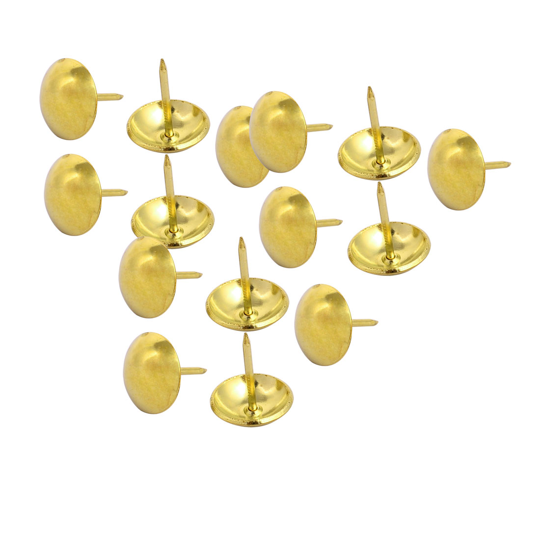 19mm Dia Metal Upholstery Nail Tack Stud Push Pin Doornail Gold Tone 15PCS