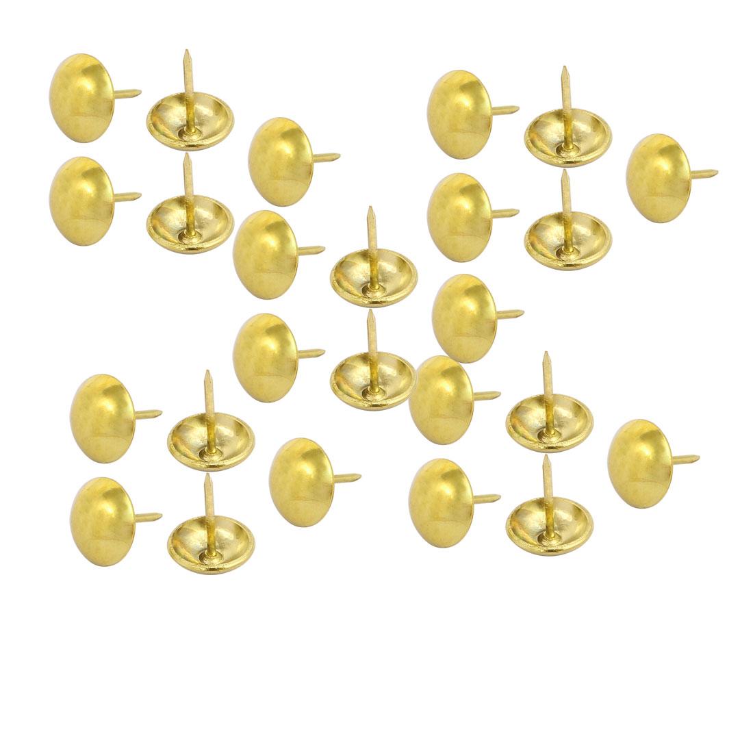 14mm Dia Round Head Upholstery Nail Tack Push Pin Thumbtack Gold Tone 25PCS