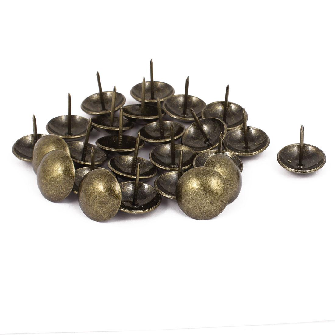 25mm Dia Metal Upholstery Nail Thumb Tack Push Pin Doornail Bronze Tone 25PCS