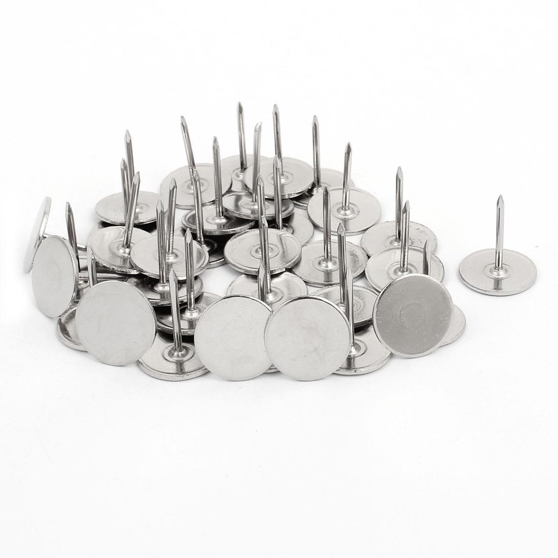 19mm Dia Round Top Drawing Pin Upholstery Nail Tack Pushpin Silver Tone 35PCS