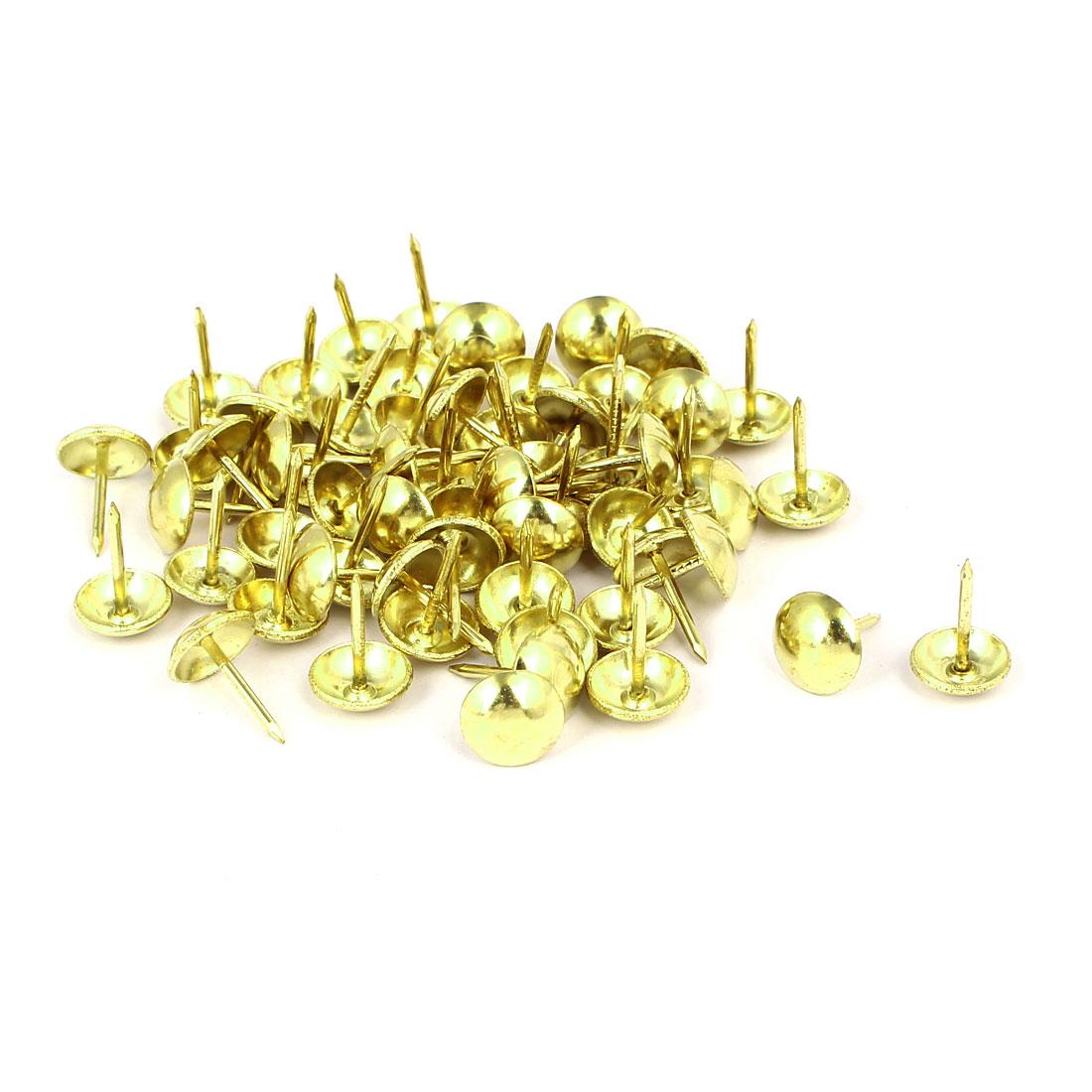 """7/16"""" Dia Round Head Upholstery Nail Tack Push Pin Thumbtack Gold Tone 60PCS"""