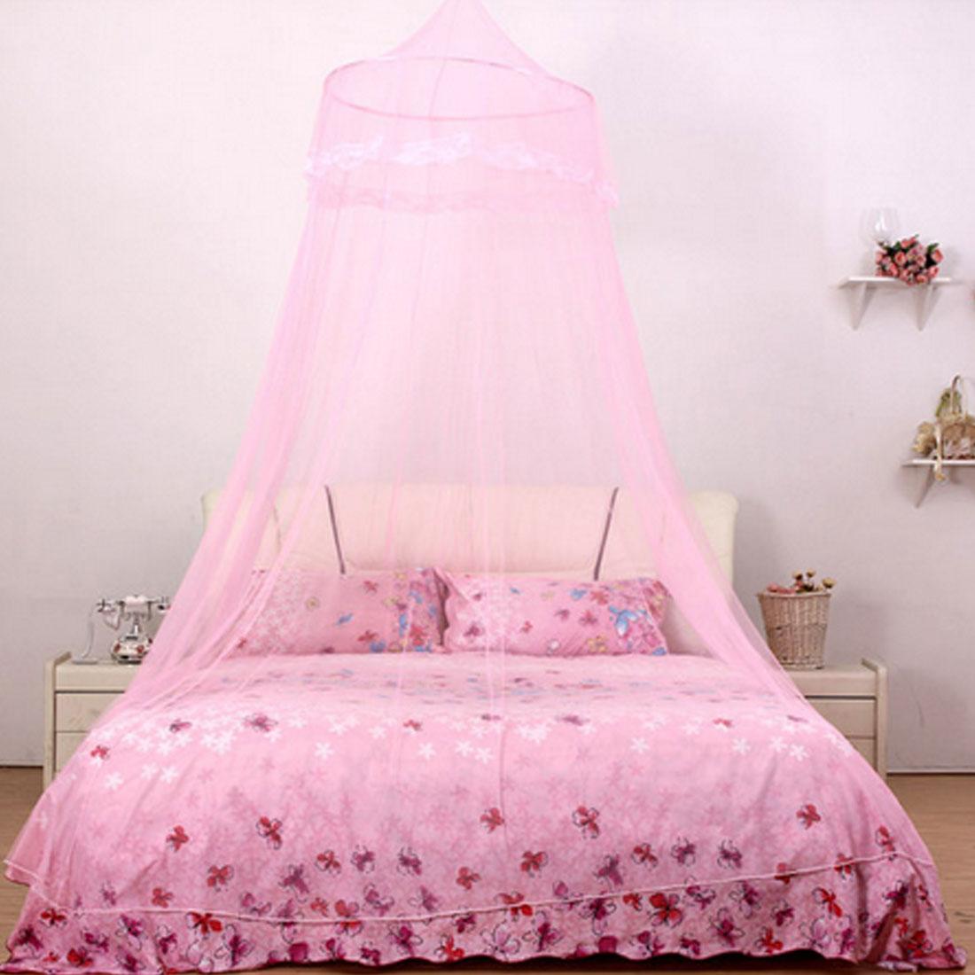 Home Bedroom Round Top Hanging Kit Mesh Bedding Mosquito Net Canopy Fuchsia 210 x 60cm